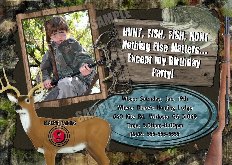 hunting fishing invitation birthday party hunt fish combo