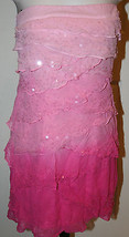 Bebe Pink Tiered Layered Strapless Silk Sequins Mini Dress Sz Medium Clu... - $69.99