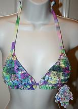 Becca Rebecca Virtue Swimwear Bikini Top Triangle Size Medium NWT Patchwork - $29.99