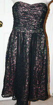 Nanette Lepore Black Lace Sheer Overlay Strapless Dress 4 Pink Green Sil... - $112.53 CAD