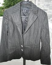 Banana Republic Women's Dark Grey Pinstripe Wool Cashmere Blazer Jacket ... - $49.49