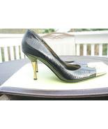 J Renee Womens Shoes Heels Jena Size 9Narrow Black Textured Gold Toe Hee... - $49.99