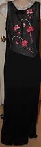Shape fx Black Pink Floral Sleeveless Patio Dress 10 Long Maxi Sheer Back Slinky - $49.99