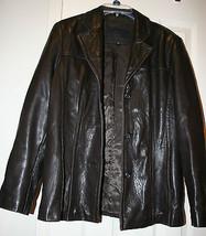 Avanti New York Leather Womens Brown Leather Coat Jacket Size Medium Button - $49.49