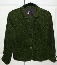 Talbots Women's Green Brown Floral Corduroy Jacket Blazer Size 10 Cuffs - $39.99