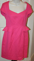 Donna Morgan Rose Pink $139 Textured Short Sleeve Dress Sz 8 Sheath Peplum NWOT - $49.99