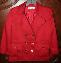 Tahari by Arthur S. Levine Red Blazer Jacket with Gold Buttons Size 12 - $49.49