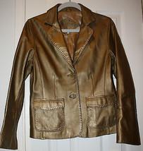 CAbi Leather Women's Gold Coat Jacket Blazer Size 8 Stitching Button Front - $89.99