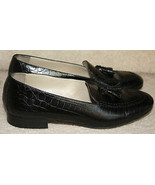 Talbots Women's Black Embossed Leather Tassel Loafers Shoes 5.5 1/2M Fla... - $29.99