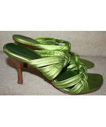Diego di Lucca Slide Mule Sandal Heels Women's Green Sz 8M Braided Satin... - $49.99