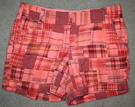 J. Crew Women's Madras Plaid Florescent Orange Red Sz 2 Chino Flat Front Shorts - $24.99