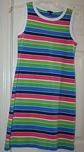 Talbots Sleeveless Striped Knit Dress Sz Small Pink Blue Green White Shift Comfy - $39.99