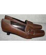 Stuart Weitzman Brown Leather Pumps Loafer Low Heels Shoes 5.5 1/2M Buckle - $39.99