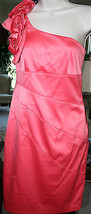 Jessica Simpson Coral $148 One Shoulder Cocktail Dress Flowers Sz 4 Even... - $69.99