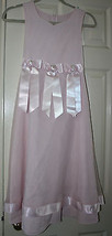 Bonnie Jean Girls Dress Pastel Pink Ribbon Roses Bow Boutique Size 12 Easter - $24.99