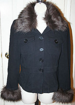 INC International Concepts Black Knit Jacket Removable Brown Faux Fur Trim Small - $89.99