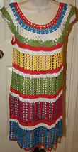 Whish Bright Colored Striped Crochet Dress NWT $72 Sz Large Boutique Boh... - $49.99
