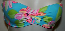 Victoria's Secret Swimwear Bikini Top Bandeau 34C Turq Floral Padded Strapless - $24.99