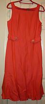 David Meister Coral Yellow Woven Sleeveless Shift Dress 8 Sheath Buttons Flared - $89.99