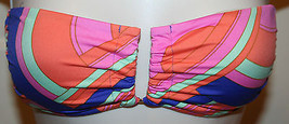 Victoria's Secret Swimwear Bikini Top Bandeau Sz XS Pink Coral Purple Strapless - $24.99