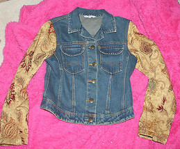 CAbi Women's Denim Jacket Gold Tapestry Sleeve Beautiful Buttons Size XS... - $49.99