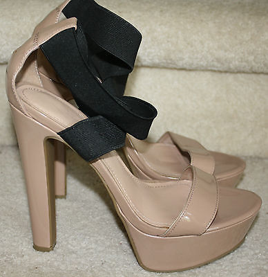 Primary image for Jessica Simpson Pattina Nude/Black Patent High Heels 8M Platform Strappy Sandals