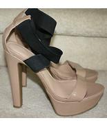 Jessica Simpson Pattina Nude/Black Patent High Heels 8M Platform Strappy... - $59.99
