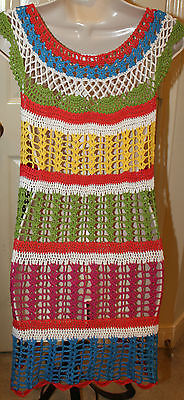 Whish Bright Colored Striped Crochet Dress NWT $72 Sz Large Boutique Boho Chic