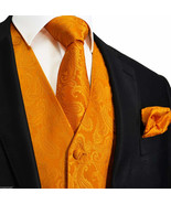 ORANGE XS to 6XL Paisley Tuxedo Suit Dress Vest Waistcoat & Neck tie Hanky 20-EE