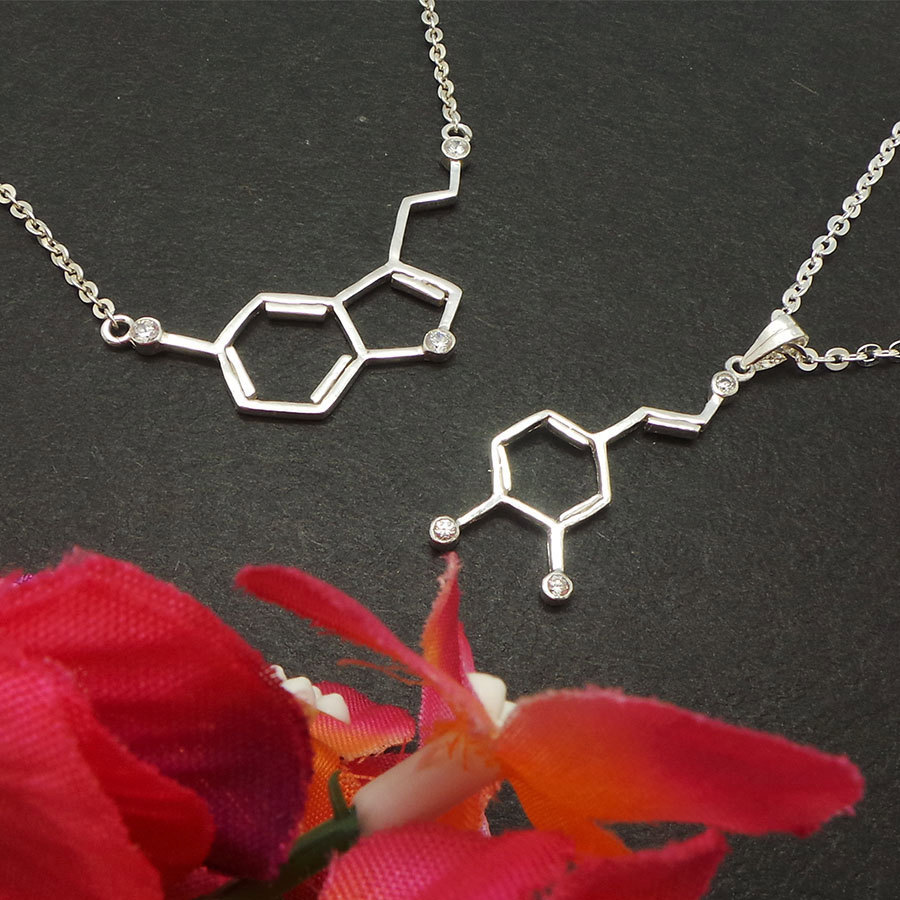 Set of 2 Serotonin and Dapomine Molecule Necklace - Sterling Silver Jewelry image 3