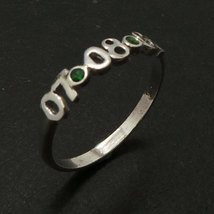 3mm Personalized Number Birthday Date Ring  with Green Cubic Zirconia - $45.00