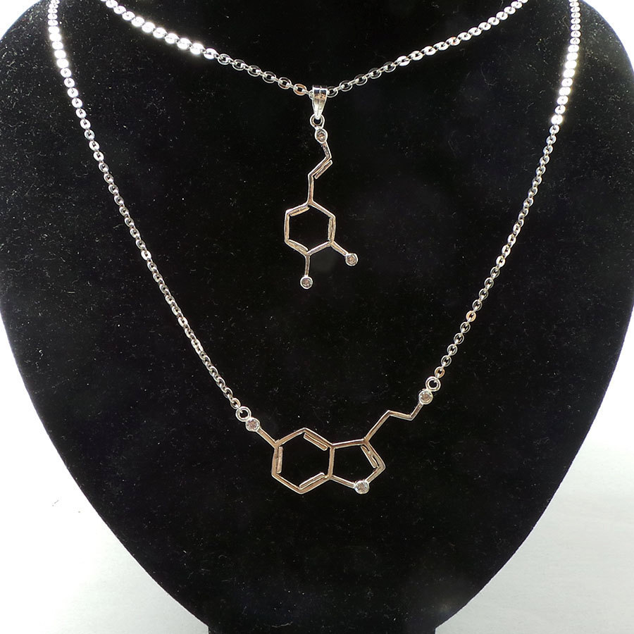 Set of 2 Serotonin and Dapomine Molecule Necklace - Sterling Silver Jewelry