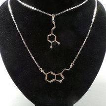 Set of 2 Serotonin and Dapomine Molecule Necklace - Sterling Silver Jewelry - $72.00