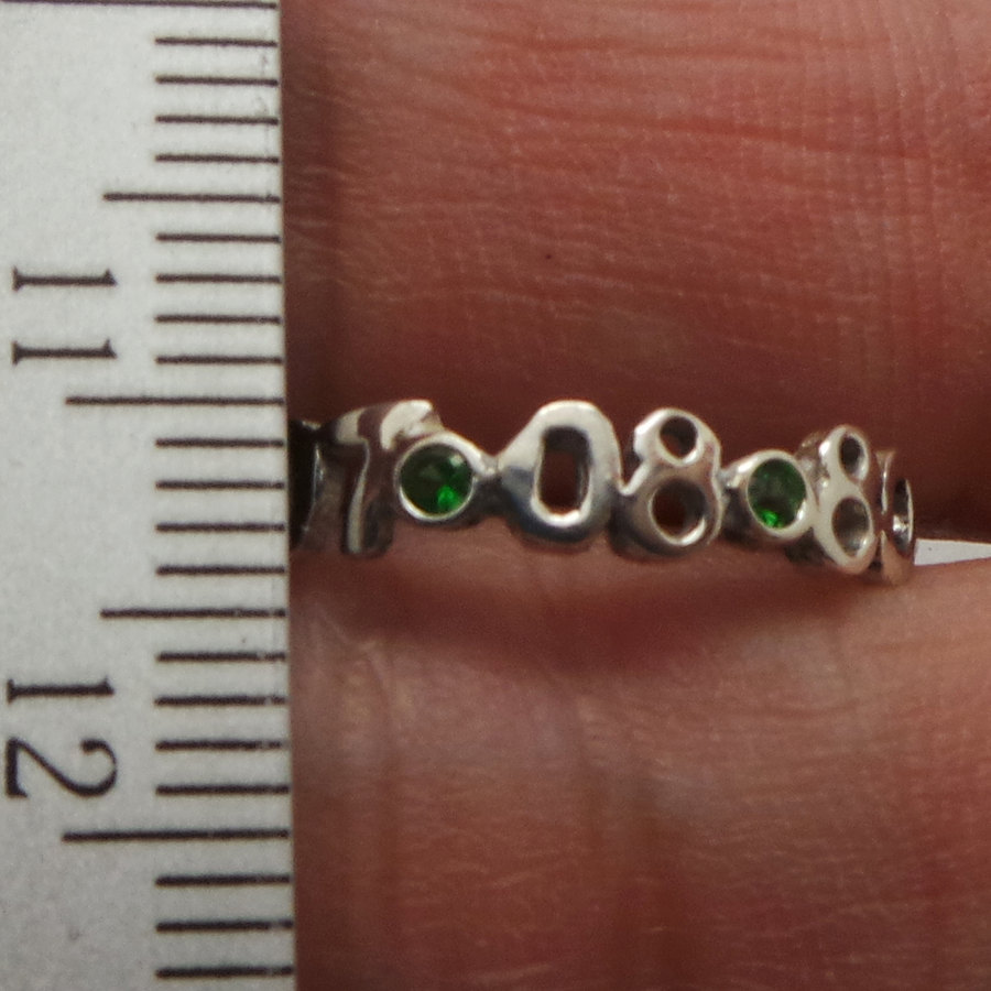 3mm Personalized Number Birthday Date Ring  with Green Cubic Zirconia