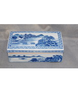 Antique Chinese Porcelain Qianlong Mark Blue White Landscape Covered Box - $1,800.00