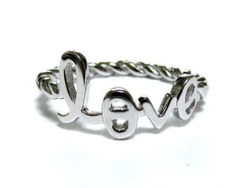 Script Letter LOVE Ring With Twisted Rope Band In 925 Sterling Silver-Si... - $18.00