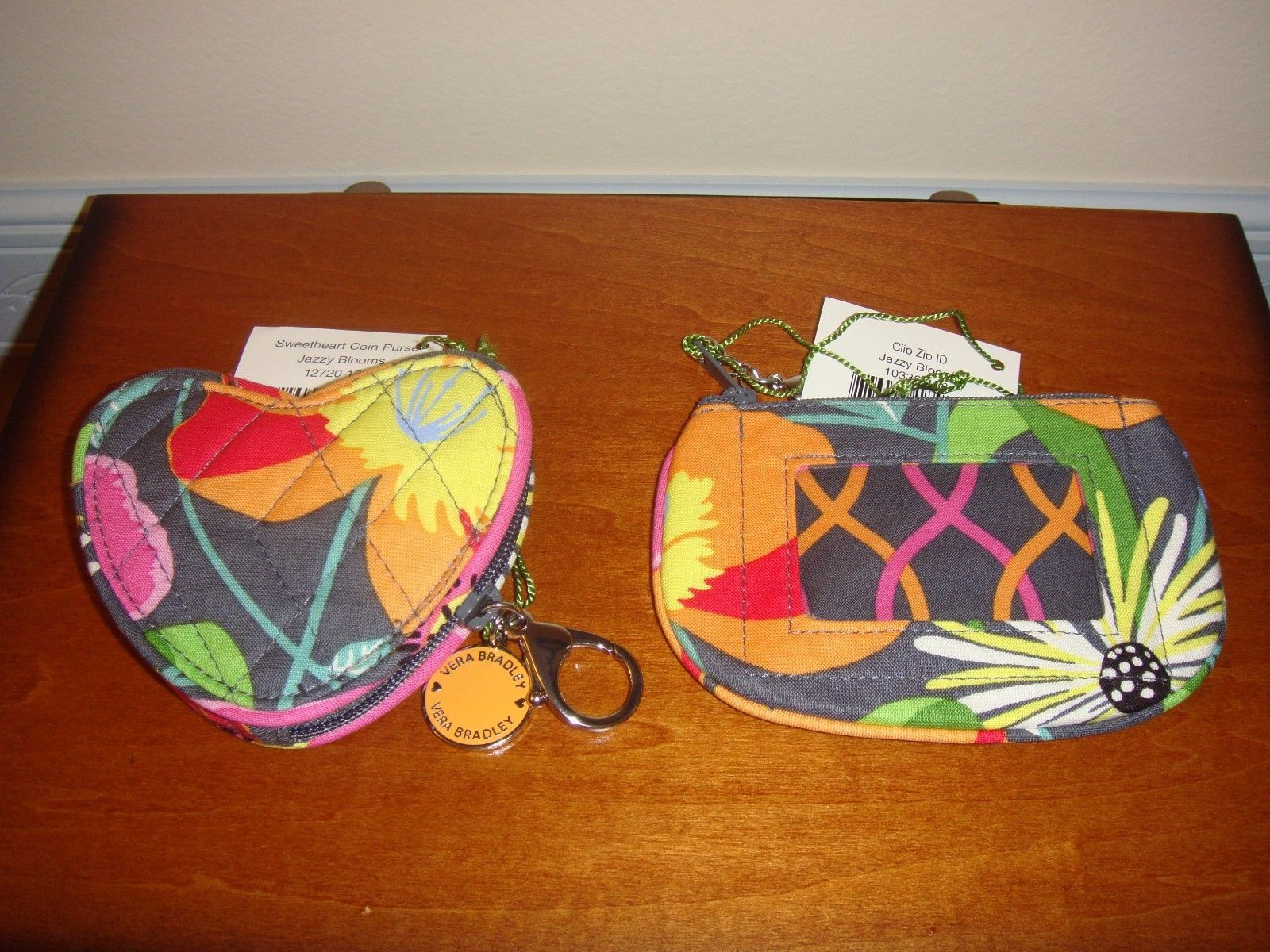 Vera Bradley Jazzy Blooms Sweetheart Coin And Clip Zip ID Case