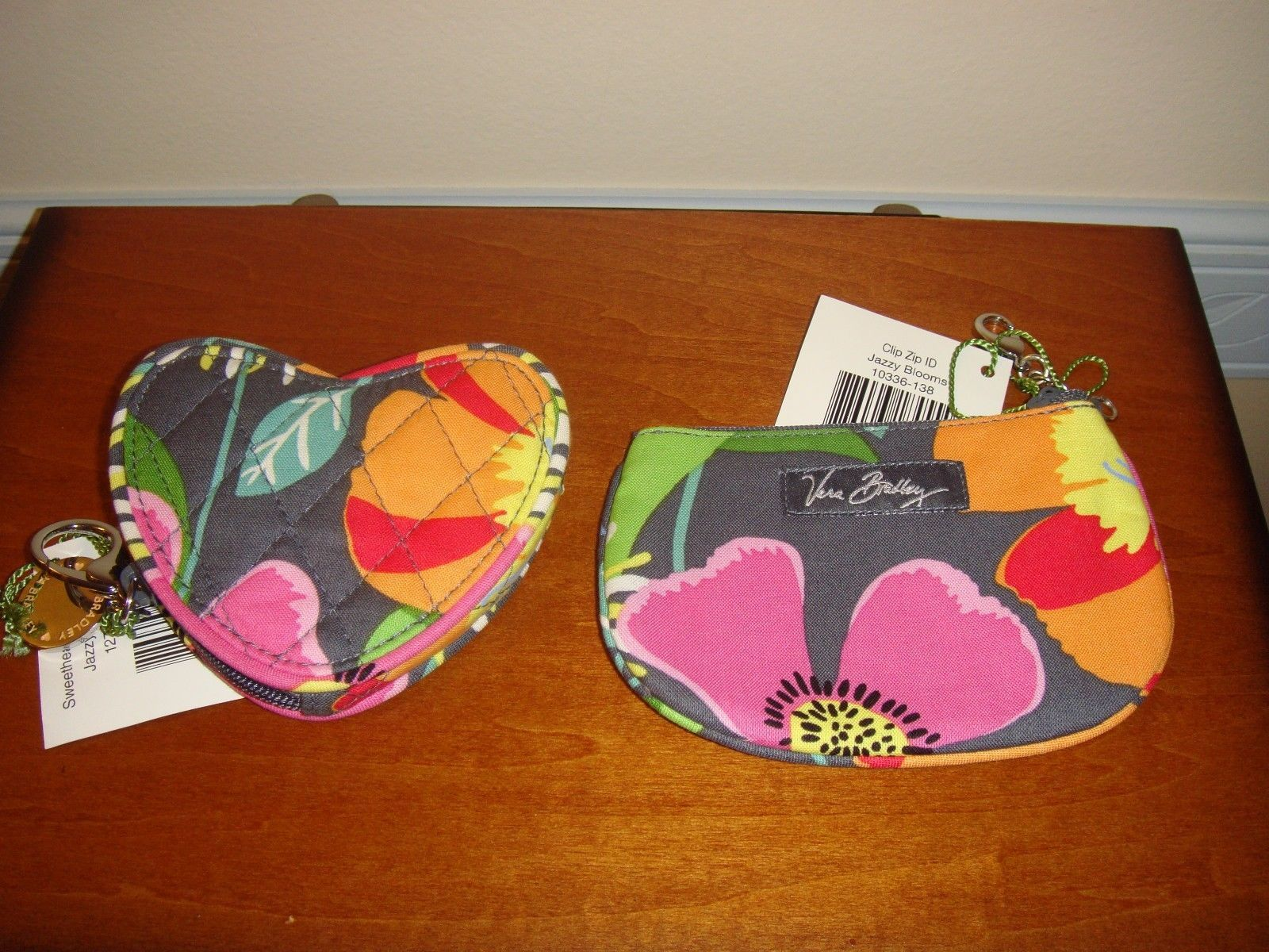 Vera Bradley Jazzy Blooms Sweetheart Coin And Clip Zip ID Case image 2