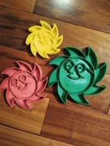 Sun Giant Set of 3 sizes Plastic Cookie Cutters Red Green Yellow Smiling... - $5.99