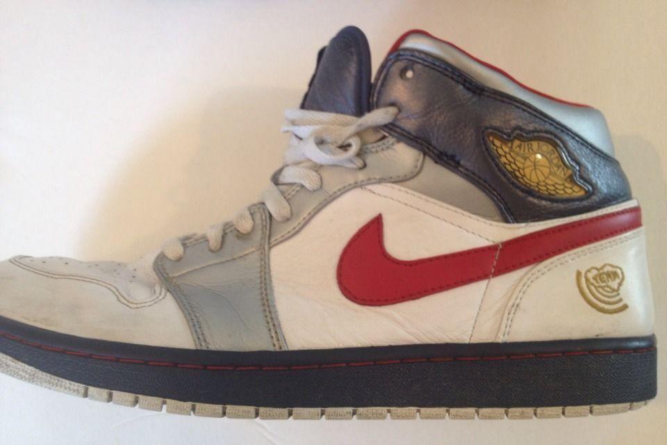 buy online 5cd47 233b7 ... 2008 NIKE AIR JORDAN 1 RETRO Olympic wht vrsty rd-mdnght nvy 136085- ...