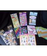 Scrap booking Sticker Lot Hello Kitty Sports Flowers Stars Mixed lot - $12.69