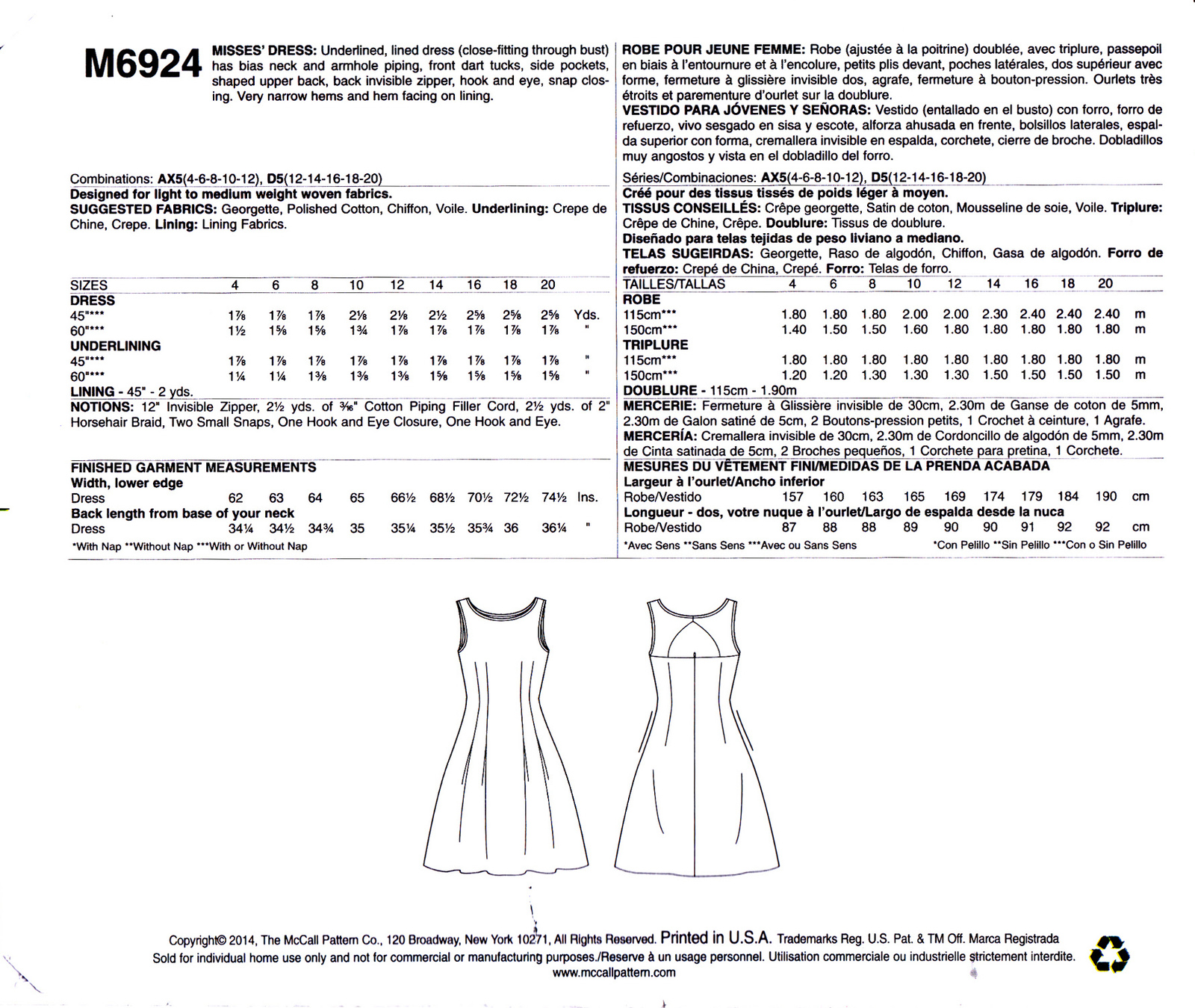 McCall's M6924 Womens Misses Sewing Pattern Dress Close-Fitting 12-14-16-18-20