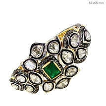 Emerald Gemstone 14k Gold 6.53ct Rose Cut Diamond Bangle Sterling Silver... - $2,160.25
