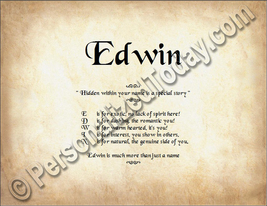 Edwin Hidden Within Your Name Is A Special Story Letter Poem  8.5 x 11 P... - $8.95