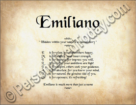 Emiliano Hidden Within Your Name Is A Special Story Letter Poem  8.5 x 1... - $8.95