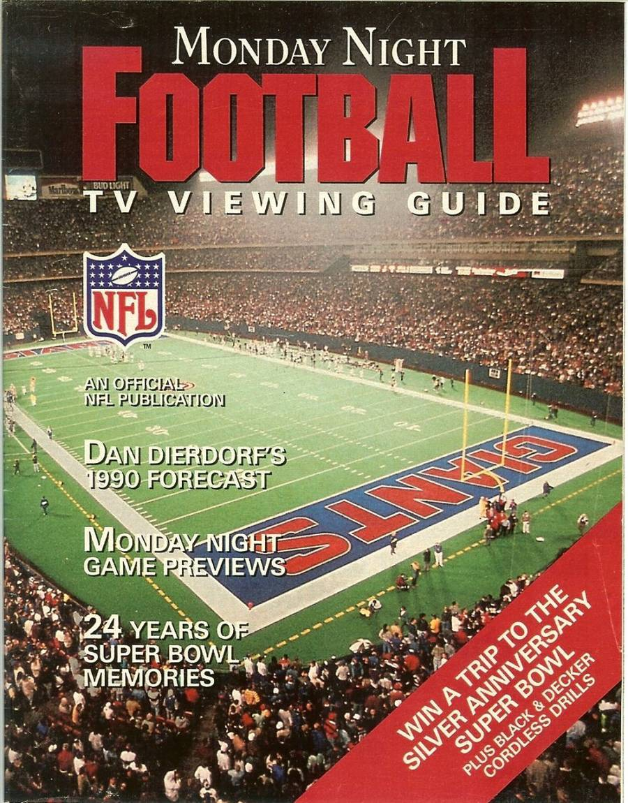 Primary image for 1990 monday night football tv viewing guide program magazine digest