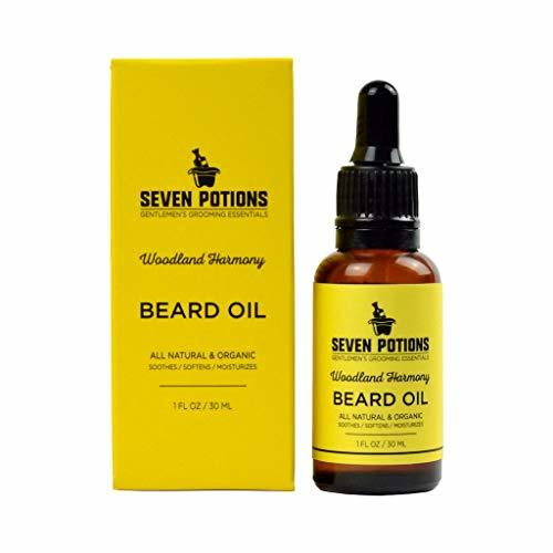 Beard Oil 1 fl oz by Seven Potions. Sweet and Woody Scented Beard Softener. Stop