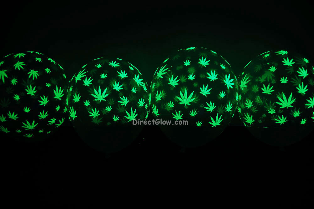 11 inch Glow in the Dark Weed Marijuana Pot Leaf Latex Balloons- 10 pack