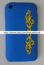DERMIS CASE for IPHONE 3G Blue+Yellow Design PROTECTIVE COVER Slip Resis... - $6.91