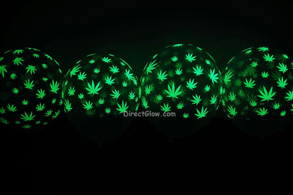 11 inch Glow in the Dark Weed Marijuana Pot Leaf Latex Balloons- 25 pack